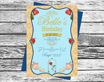 Personalised Vintage Beauty & the Beast invites, Princess Birthday Party Invitation, Enchanted Rose, Disney Princesses Belle, afternoon tea