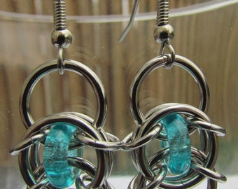 Turquoise Blue Earrings, Chain Maille Earrings, Glass Earrings, Blue Glass Jewelry