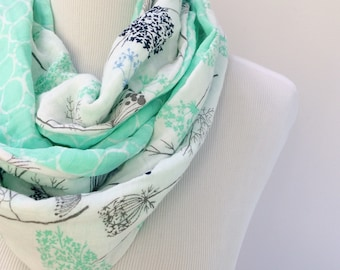 Cotton Gauze Scarf. Lightweight Infinity Scarf. Floral Spring Scarf. Cotton Loop Scarf. Mint Green Scarf for Women. Gift for Her Under 50.