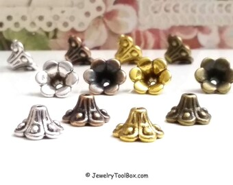 Bead Caps, Flower Beads, Choose Antique Silver, Copper, Gold or Bronze, 10x6mm, 1mm hole, 8mm Inside, Lot Size 26 to 50, #2019