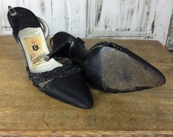 Original 1950s Vintage Italian Black Satin And Rope Stiletto Heels By Capricio
