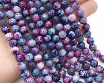 8mm Faceted Purple Agate Beads, Round Gemstone Beads, Wholesale Beads