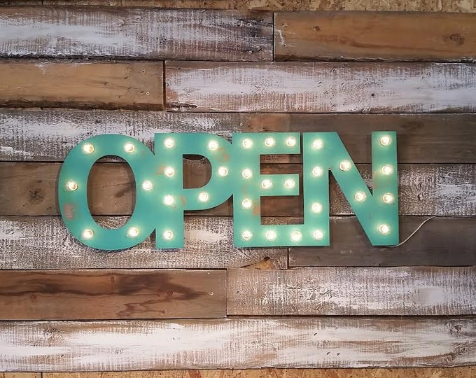 Open Sign, LOVE, Bar, Cheers Metal Marquee with BACK Cover .. Business Studio Boutique Opening Wedding Gift Anniversary Vendor Restaurant