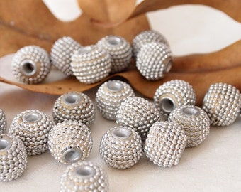 4 Kashmiri Beads Round Handmade Clay Ethnic Beads Silver Tone Size 13.5 x 16mm Hole 3mm