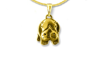 14K Solid Gold Hippo Pendant