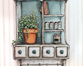 """Original Art Painting - Country Home Illustration - Watercolor and Pen - """"Petites"""" Series"""