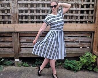Vintage 1980s Lanz Black and White Striped Low Back Long Waist Cotton Office Secretary Sundress Dress