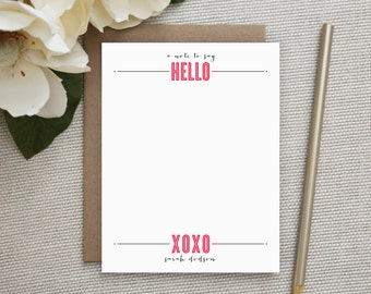 Personalized Stationery. Personalized Notecard Set. Personalized Stationary. Personalized Notes / Note Cards. Personalized. Bold HELLO.