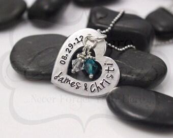 Hand Stamped Wedding/Anniversary Necklace