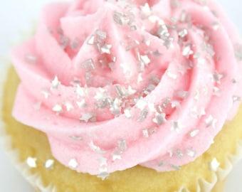 Edible Mini Silver Stars/ Mini Silver Stars for Cakes/ Edible Mini Stars for Cupcakes/ Edible Silver Stars/ Silver Star Sprinkles
