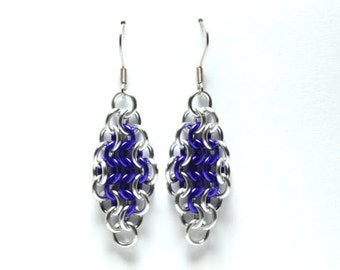 Chainmaille Earrings | Hand Crafted Chainmaille Jewelry | Handmade Earrings | Purple and Silver | Anodized Aluminum