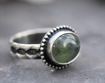 Size 5.5 Prehnite Ring. Sterling Silver.