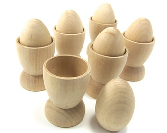 Wood Eggs with Egg Holders | Play Kitchen Set with 6 Medium Wooden Eggs and Egg Cups Unfinished Wood