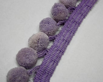 Purple Pom Pom Trim Per Yard