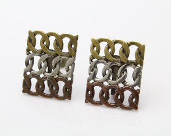 Vintage Chunky Brass Copper and Sterling Silver Artisan Chain Screwback Earrings. [392]