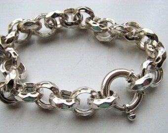 12mm Hammered Links Rolo Chain Charm Bracelet, Sterling Silver 9 inch