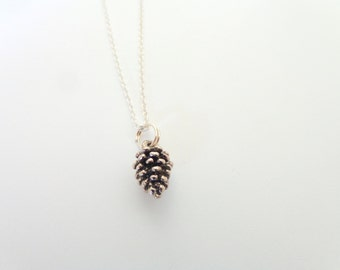 Tiny Pinecone Necklace.  Dark Silver Pinecone Necklace. Silver-Plated