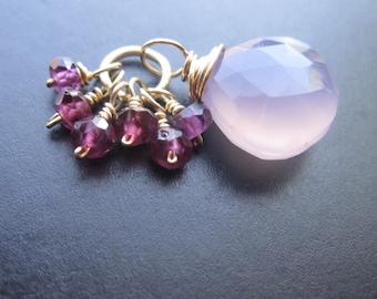 Purple Chalcedony, Garnet Gemstone Pendant for Interchangeable Necklace