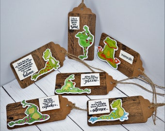 Yoga frogs gift tags, set of 6 gift tags, twine included with every tag.
