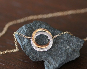 delicate necklace, dainty necklace, two circles necklace, hammered circles, mixed metals, gold and silver, love knot circle, N114