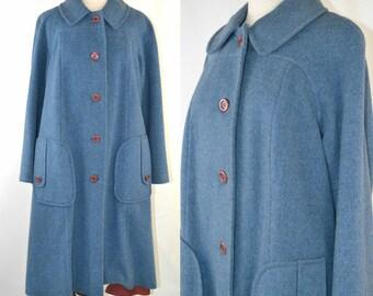 1960s Cornflower Blue Wool Coat by Susan Lynn Petites, Winter Coat, Needs TLC