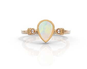 Pear Cut Opal Engagement Ring Opal ring solid 14k gold with 0.03 ct Diamond ring alternative engagement ring opal jewelry Unique minimalist