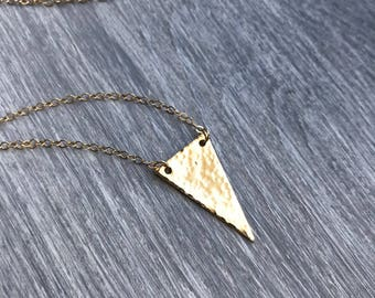 14k gold filled necklace with hammered triangle pendant, simple necklace, dainty everyday, holiday layering necklace