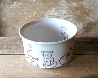 Deep Large Pet Food Bowl With Cute Animals, Dishwasher Safe Cat or Dog Food  Bowl, Water Bowl, Ready to Ship