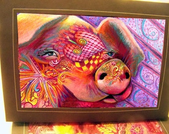 greeting card print of original art- pig Zentangle