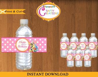 Disney Princess Water Bottle Labels - Printable Princesses Water Bottle Wrappers - Waterbottle Wraps- INSTANT DOWNLOAD- CraftyCreationsUAE