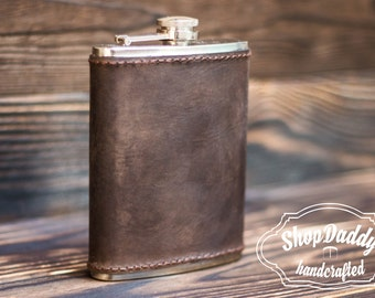 Flask, Leather Flask, Personalized Flask, Groomsmen Flask, Engraved Flask, Hip Flask, Custom Flask, Mens Flask, Best Gift To Him, Mens Gift