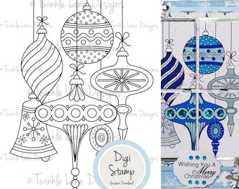 Vintage Baubles, Digi Stamp, Christmas Digital Stamp, Decorations, Bell, Adult Colouring Page, A5 Sheet, Digital Clipart, Bauble Clipart