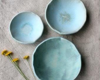 Set of 3 Ceramic Turquoise Nesting Bowls, Serving Bowls, Handmade Ceramic Bowls, Ceramic  Dishware, Wedding Gift