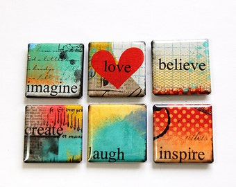 Square Magnets, Magnets, Motivation, Fridge Magnets, Magnets, button magnets, Motivational, Inspirational, Bright Colors, Abstract (4614)