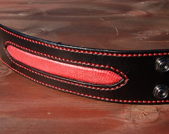 Red Snake Leather Inlay Stitched Cuff