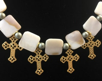 Mother of Pearl Necklace, Religious Necklace, Catholic Necklace, Religious Jewelry, Flat Beads MOP