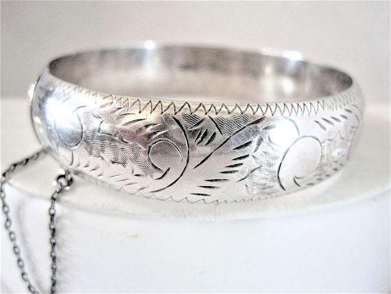 Sterling Silver Bracelet, Wide Etched Trim, Hinged with Safety Chain - Sterling Bangle