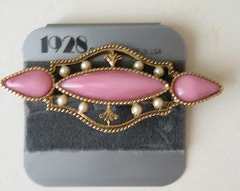 1928 Pink Moonglow moon glow glass, faux pearl brooch