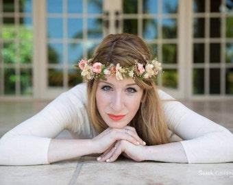 Boho Floral crown dried silk flower hair wreath Woodland circlet garland spring Peach wedding accessories champagne headwreath