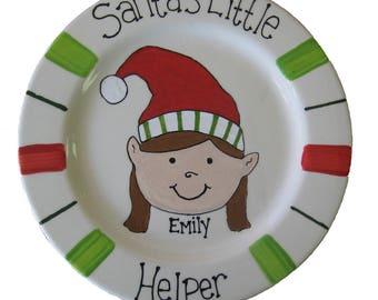 Personalized pottery Santa's Little Helper Plate