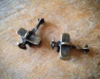 1 - Airplane Bronze Vintage Style Plane Planes Airplanes Pendant Charm Jewelry Supplies (BC138) DFLCHARM