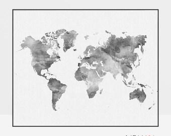 World map watercolor poster, World map wall art, World map art, Travel Map, Large world map, Gift decor, ArtPrintsVicky.