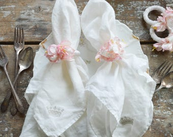 Pretty Pink Paper Flower Napkin Rings