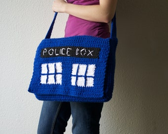 Doctor Who Tardis crochet Messenger Bag