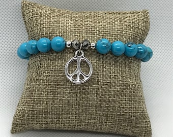 Turquoise Bracelet with Peace Sign charm, Stackable