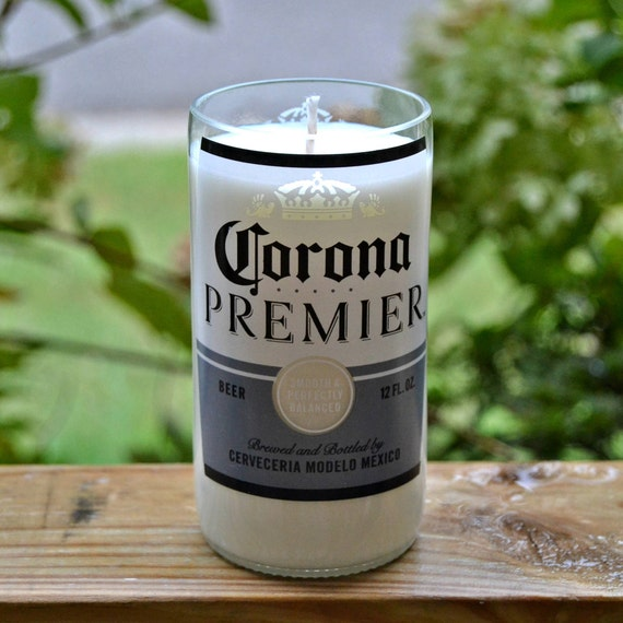 Corona Premier beer bottle candle made with soy wax