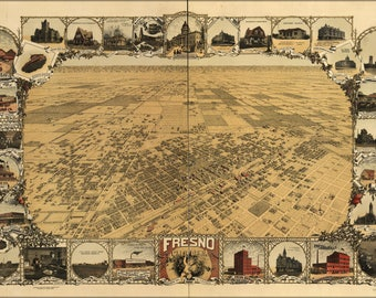 Poster, Many Sizes Available; Map Of Fresno, California 1901