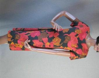 50s 60s Vintage Sheath Dress Georgia Bullock Red Print Wiggle Small