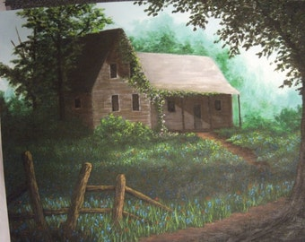 Abandoned Farm House, Tree, Bluebells, grass, Field, Indian Paintbrush, Spring, summer,Texas, Path, Fence, Original Landscape Oil Painting