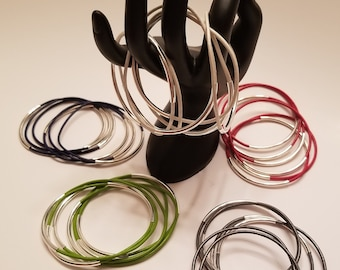 Silver plated and leather cord Bracelets (set of 6)